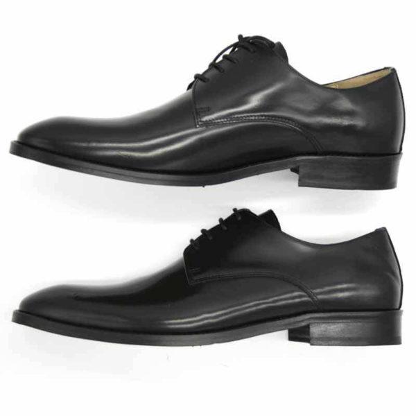 Foto von zwei schwarzen, polierten Herrenschuhen beide von der Seite fotografiert, nach links weisend - Modell Business Klasse 306