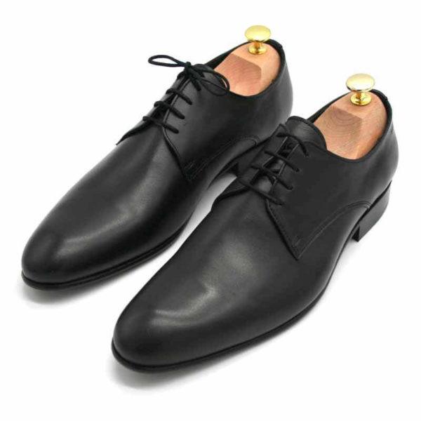 Foto von zwei schwarzen Herrenschuhen beide mit Schuhspannern mit goldenem Knauf, nach vorne links weisend - Modell Alltagsfavorit 304