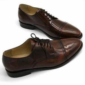 Foto von zwei braunen, schwarz changierenden Herrenschuhen beide nach rechts weisend mit den Schuhspitzen schräg zusammen - Modell Premium Klasse 329