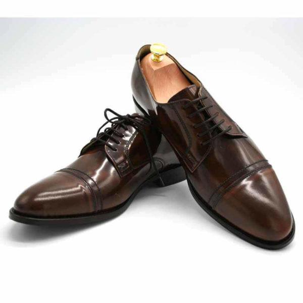 Foto von zwei braunen, schwarz changierenden Herrenschuhen einer mit Schuhspanner mit goldenem Knauf - Modell Premium Klasse 329