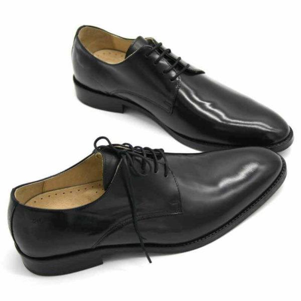 Foto von zwei schwarz polierten Herrenschuhen beide nach rechts weisend mit den Schuhspitzen schräg zusammen - Modell Business Klasse 306