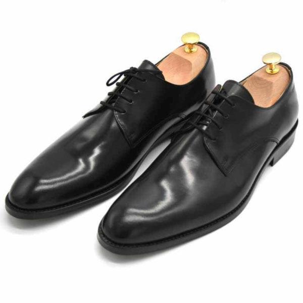 Foto von zwei schwarz polierten Herrenschuhen beide mit Schuhspannern mit goldenem Knauf, nach vorne links weisend - Modell Business Klasse 306