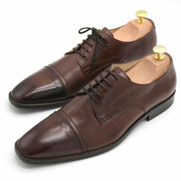 Foto von zwei braunen Herrenschuhen beide mit Schuhspannern mit goldenem Knauf, nach vorne links weisend - Modell Business international 328