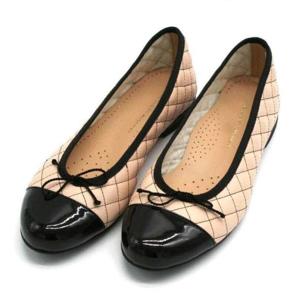 Foto Ballerinas beige schwarz zwei nebeneinander_Ansicht von schräg vorne__Modell 583