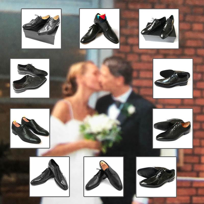 Verschwommenes Foto von einem sich küssenden Hochzeitspaar und darum 10 Paar Bräutigamschuhe