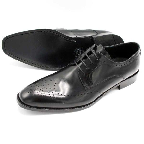 Foto zeigt Derby Herrenschuhe, der eine auf der Seite liegend, so dass die Ledersohle sichtbar ist, der andere stehend_Modell 308