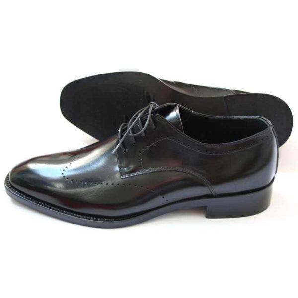 Herren Business-Derby-Schuh in Schwarz mit dezenter-Verzierung_2