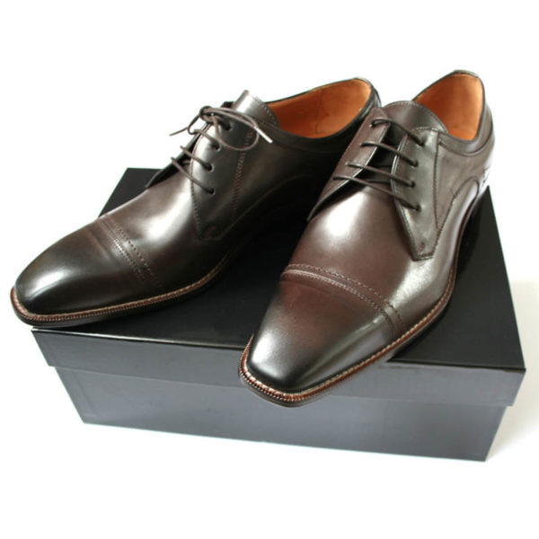 Photo men`s business shoes-Sophisticated design-dark brown mocha tone-2 shoes from above on a carton