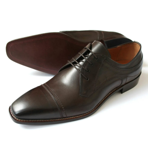 Photo men`s business shoes-Sophisticated design-dark brown mocha tone-2 shoes one sole