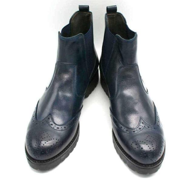 Foto Italienische Stiefeletten blau stehend mit Schuhspitze nach vorne zeigend_Modell 650