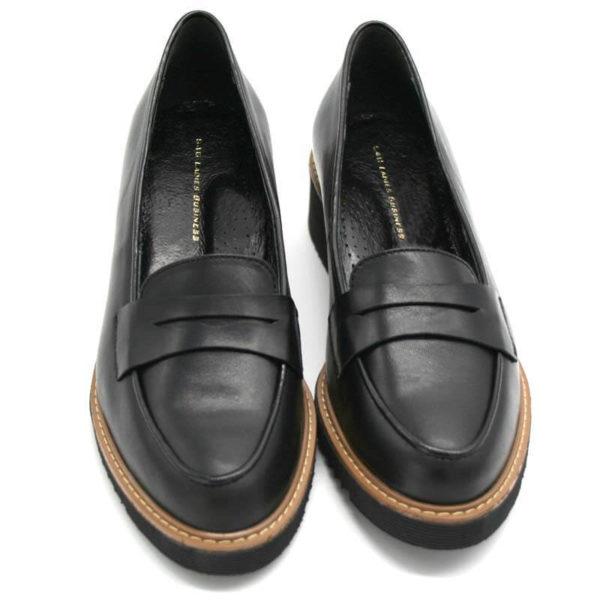 Foto 2 schwarze Loafer mit Keilabsatz. Schuhe zeigen gerade nach vorne, nebeneinander stehend. Modell 514