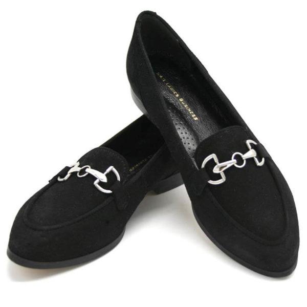 Foto 2 Loafer schwarz nach vorne zeigend. Der eine auf den anderen gestützt. Modell 516